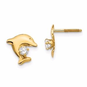 14k Dolphin With CZ Post Earrings